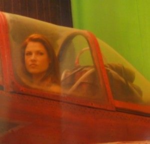 Ali Larter in the YAK-52 Cockpit - Resident Evil: Afterlife